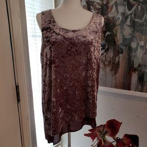 Plush lined velvet asymmetrical top